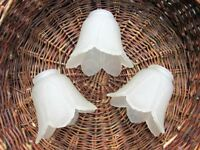 VINTAGE GLASS LIGHT LAMP SHADE. Set of 3. Tulip Flower Shaped in Frosted Glass