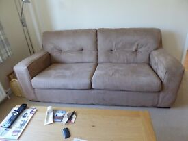 Large 3 seater sofa - mushroom mock suede - very good condition