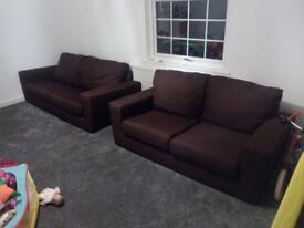 3 Seater & 2 Seater Brown Fabric Sofa