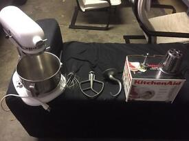 White Kitchen Aid mixer and add ons