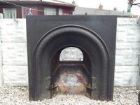 cast iron fireplace / vintage cast fire insert / fire surround / mantle piece / cast iron / vintage