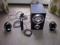 Sony SRS D211 Speaker system with 35w woofer 2 speakers and control unit.