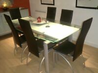 Glass Top Dining Table Inc 6 Chairs And Sideboard