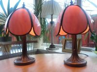 Pair of Table lamps, mottled glass shade