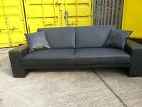 Black Leather 3 Seater Sofa Bed Couch Sofa - DELIVERY AVAILABLE
