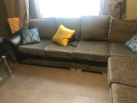 Grey sofa suite corner plus 3 seater