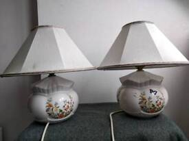 Aynsley ceramic Cottage Garden small lamps pair