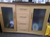 Solid maple table & 6 chairs & sideboard to match