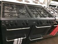 Black new world 100cm dual fuel cooker grill & double fan ovens with guarantee