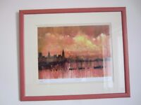 Limited edition framed print of the Houses of Parliament and Thames