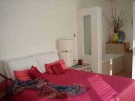 loft bedroom with contemporary open plan ensuite.