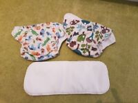 Reusable nappies - excellent condition, hardly used. 12 nappies, 23 liners. Smoke and pet free home
