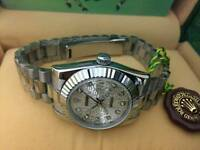 New Swiss Ladies Rolex Oyster Datejust Perpetual Automatic Watch, Silver Dial
