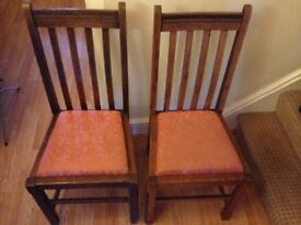 Pair of dining chairs - wooden upholstered