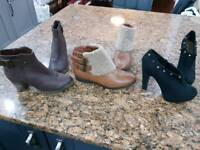 3 Pairs Size 5 Ankle Boots
