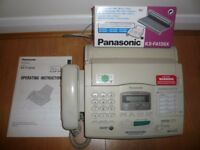 Panasonic KX-F1830 phone & plain paper fax + unused double box Panasonic KX-FA136X replacement film