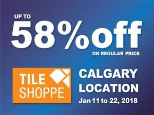 TILE SHOPPE CALGARY SALE (Up to 58% off on regular price) Marble,Porcelain,Ceramic,Laminate,Hardwood,Engineered wood