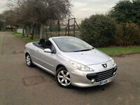 PEUGEOT 307 CONVERTIBLE DIESEL HDI 2006. ONLY 73 K MILES. LADY OWNED. LONG MOT . SUPERB DRIVE.CHEAP