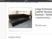 Designer Embossed leather modular sofa 1.25m x1m x2