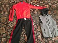 North face body warmer part worn brand new adidas tracksuit