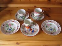 Rare Vintage Oriental Japanese Chinese Set Cups, Egg Cup, Saucers & Side Plates