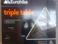 Band new ,boxed, Eurohike triple table 150cm x 60cm x 70cm