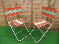 two retro folding camping picnic deck chairs vw camper