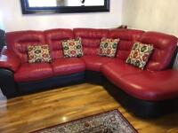 DFS RED AND BLACK LEATHER SOFAS AND DINNING CHAIRS
