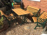 Cast Iron and Wood Garden Table, Bench and 2 Chairs in Green