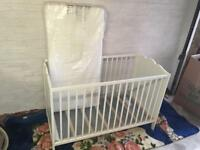 White cot bed with new IKEA mattress good functional condition