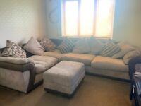 Large corner sofa and foot stool