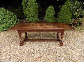 Beautiful Large Dark Brown Old Solid Oak Refectory Table
