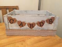 Wedding Card Box Crate, Rustic, Hessian, Large Size.