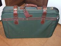 Traditional style large canvas suitcase