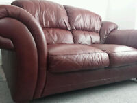 Premium Leather Two Seat Sofa with Wooden Feet