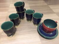 Denby Harlequin 6 Footed Mugs - good condition