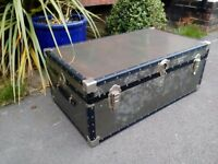 Vintage metal steamer trunk made by Mossman great for display or coffee table or storage