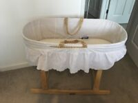 Moses Basket, with rocking stand and three fitted sheets