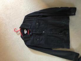 Men's Medium Topman Faded Black Denim Jacket