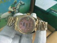 New Swiss Ladies Rolex Oyster Datejust Perpetual Automatic Watch, Stone face Pink dial