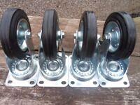 Heavy Duty Swivel Castor Wheels set of 4 with rubber tyres .