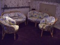 Cane Furniture with Cushions 2 Two Seater Settee and Two Armchairs