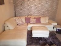 Real leather sofa footstool and 3 cushions