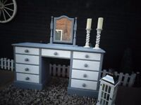 ABSOLUTELY STUNNING SOLID PINE FARMHOUSE DRESSING TABLE WITH MIRROR