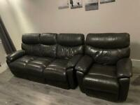 Grey leather 3 seater sofa and chair (manual recliner)