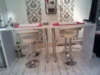 2 x Nail Bar Tables/Nail Station For Sale with 4 Bar Stools- £200
