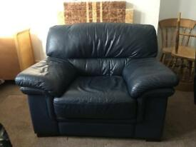 Extra wide leather armchair