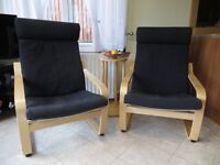 IKEA POANG armchairs with 2 sets of cushions and colours