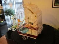 LOVELY BIRD CAGE WITH NEW BIRD BATH AND OTHER ACCESSORIES