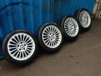 "BMW 17"" alloy wheels with good tyres"